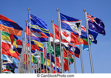 British Commonwealth and world flags is flying