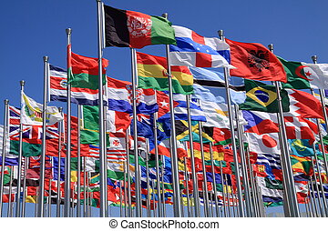 World national flags - The national flag is flying around...