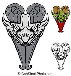 afiado, língua, Demônio