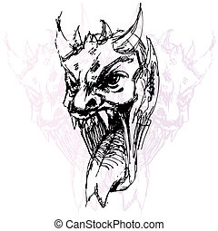 Demon Face Drawing