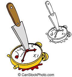 Killing Time - An image of killing time with a clock stabbed...
