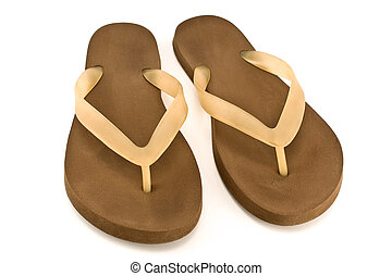 Pair of brown rubber flip flop sandals isolated on white