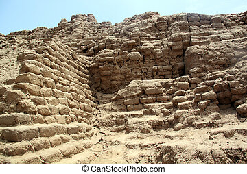 Brick walls and ruins Huaca de la Luna, north Peru