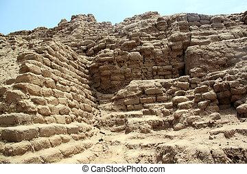 Brick walls and ruins Huaca de la Luna, north Peru