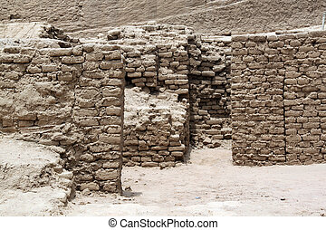 Brick walls and ruins of temple Huaca de la Luna, north Peru
