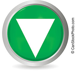 Down button - Green down button on white background - vector