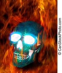Magic skull in fire - Magic transparent ice skull burning in...