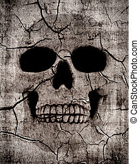 Rotting skull - Grunge spooky skull background with various...