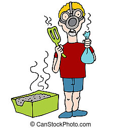 Cleaning Litter Box - An image of a man wearing a gas mask...