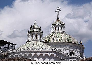 Top of white church in the center of Quito, Ecuador