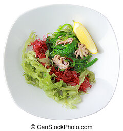 salad kaiso with octopus - salad of green and red algae with...