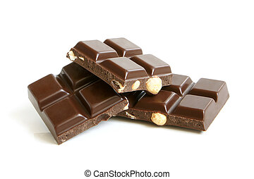 Chocolate pieces with nuts on a white background