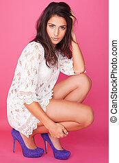 beautiful woman - beautiful brunette in purple heels and...