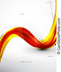Flowing abstract orange wave background - Vector abstract...