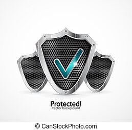 Protected icon - Vector steel shield with check mark