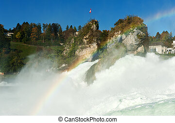 Rhine Falls - Mighty Rhine Falls largest falls in Europe at...