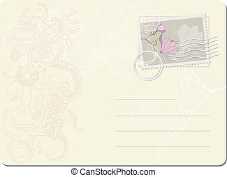 vector blank post stamp with magnolia Vintage style
