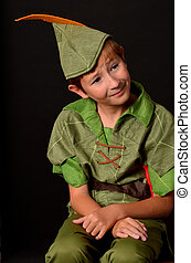 Portrait Peter Pan - Portrait of a Young boy dressed up in...