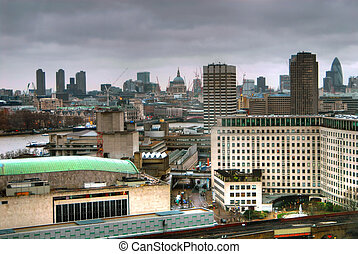 London Business District - High perspective of London...