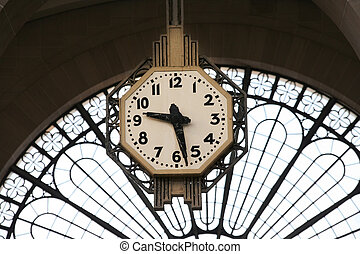 Railway Station Clock - Railway station clock in Paris. Gare...