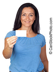 Adorable woman with a business card