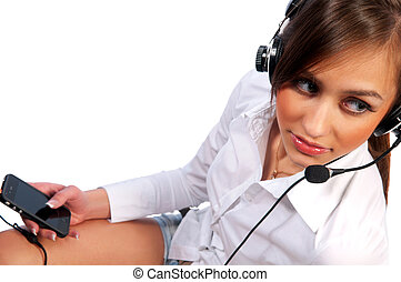 beautiful woman with headset smiling - woman with a headset....
