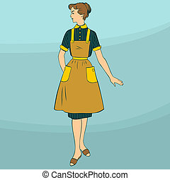 Stereotypical housewife on light blue background