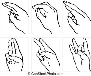 Hand language - Many hands showing hand languare on white...
