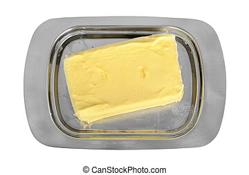 Butter on silver butter dish