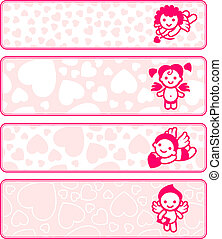 Cupids banner set, collection angels, vector