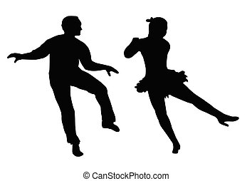 Dancing Couple Steps and Kick - Dancing Couple Silhouette...