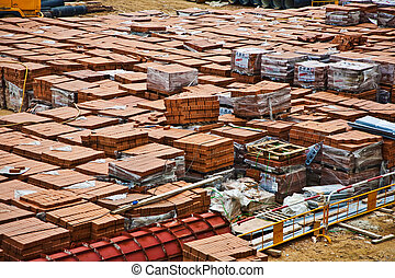 red bricks on building site at Kowloon