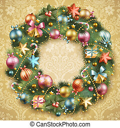Christmas wreath with baubles and christmas tree. Vector...