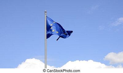 EU flag  - EU flag, blue sky