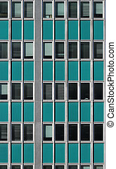 Turquoise office exterior. - Exterior of retro looking...