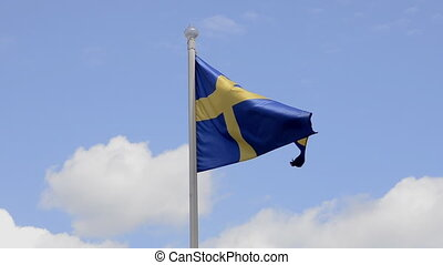 Sweden flag, Blue sky