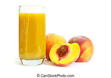peach juice - Glass with freshly made peach juice on a white...