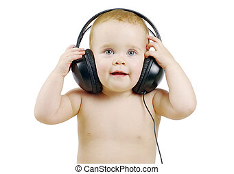 baby with headphone - Smiling baby with headphone over white...
