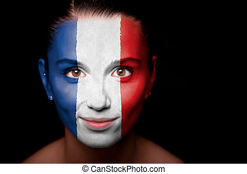 Woman with the flag of the Netherlands - Portrait of a woman...