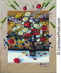 flowers, picture oil paints on a canvas - The vase with the...