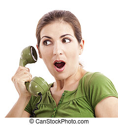 Astonished - Beautiful woman at phone astonished with...