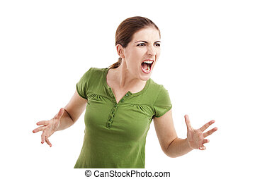 Woman yelling - Young woman yelling and nervous with...