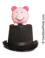 Magic piggybank - Magicians hat with piggybank on white...