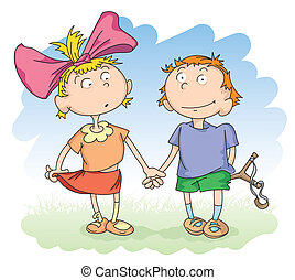 Boy and Girl - A good girl with red ribbon and naughty boy...