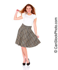 Beautiful young woman wearing skirt on white background