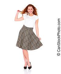 hermoso, joven, mujer, Llevando, falda, blanco