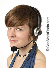 women with headset - young woman with a headset smilling