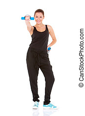 Fitness woman working out with free weights on white