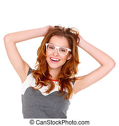 Portrait of young woman wearing glasses on white - Portrait...