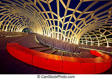 Webb Bridge, Docklands, Melbourne, Australia, at night